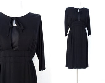 40s Black Dress | Marlene Dress | 1940s Dress | M L