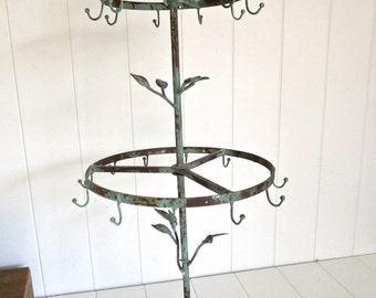 Anna - 2 layer tall french rustic bird jewelry stand with 21 hooks - distressed vintaged green