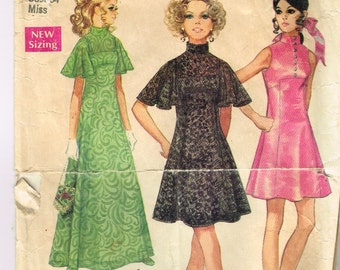 Original 1960's Formal Dress Pattern with Flared Sleeves, Lace, Stand Up Collar Size 12 Bust 34 Simplicity 8489