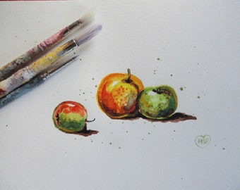 Fruit painting, original watercolor apples, kitchen art, 8x10 OOAK Watercolor painting with mat
