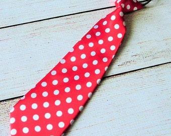 Valentine Red Polka Dot Necktie Infants Neck Tie Boys Necktie Baby Necktie Cake Smash Photo Prop