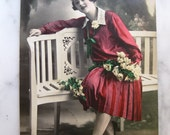 SALE !!! Antique Photo Postcard. Lady in Red. 1928