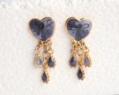 Vintage Purple Hearts Pierced Dangle Earrings Pierced Post Lavender Enamel Dangle Teardrops Drop Earrings