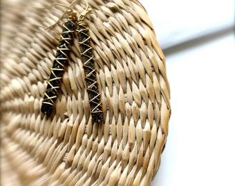 SALE - Black Stick Patina Dangle Drop Earrings Diamond Pattern Dark Charcoal Gold Wire Wrap Boho Jewellery