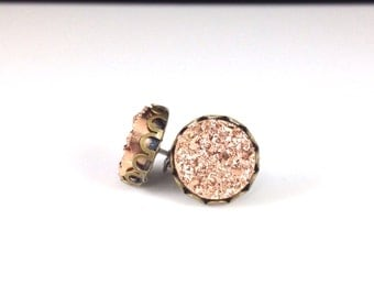 10mm Round Rose Gold Copper Druzy Drusy Stud Earrings in Antique Bronze Lace Setting with Nickel Free Titanium Posts
