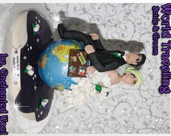 World Traveling Bride & Groom, Wedding Cake Topper, Travel