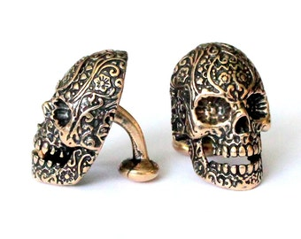 Sugar Skull Cufflinks in Solid Bronze Sugar Skull Cuff Links  Day of the Dead 145