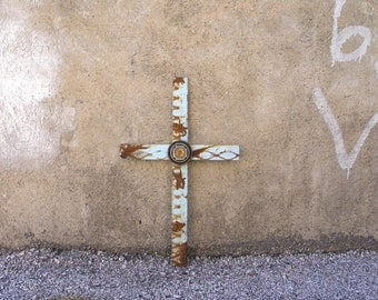 Texas Decor Wall Cross, Industrial Style, Unique Home Accent, Rugged Cross, Junk Metal Art, Urban Wall Decor, Non Religious Crucifix