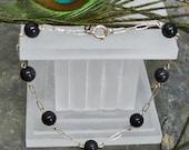 "Bracelet: Sparkly Navy-Blue Goldstone and Sterling Silver - 7.5"" - B07"