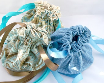 Bridesmaid Gifts, Jewelry Bags, Fabric Pouches, Drawstring Bags, Choose Your Color,  Brights and Pastels, Cotton Pouches