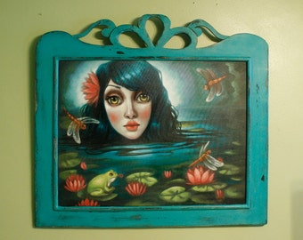 Lilly Pond. Original one of a kind framed oil painting. Hand built  cut out shapes oak frame. 22x28 in