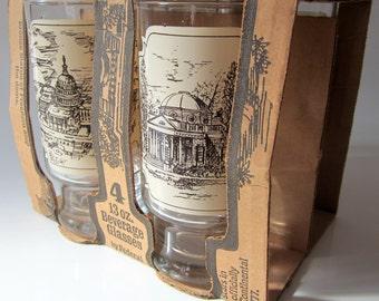 Federal Glassware Set of 4 US Historical BuildingsTumblers Beverage Glasses Rare Collectible Original Box