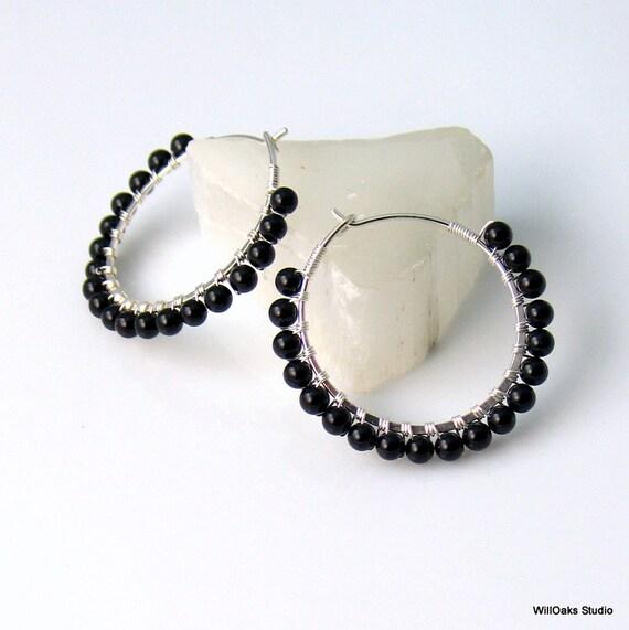 Black Stone Earrings: Basic Black Stone Hoop Earrings Black Earrings In Polished