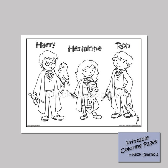 Harry Potter Printable Coloring Page Harry Ron by Beckadoodles