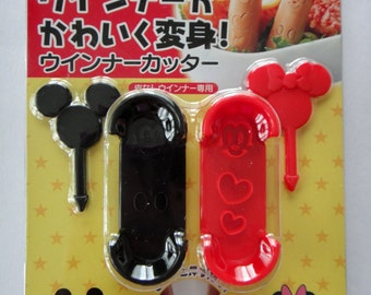 Disney Mickey & Minnie Mouse Sausage Cutters And Picks Set / Frankfurter / Molds / Moulds / Stencils To Make Cute Sausages For Bento Lunches