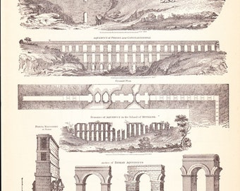 1901 Architecture Print - Aqueduct - Vintage Antique Art Illustration History Geography Great for Framing 100 Years Old