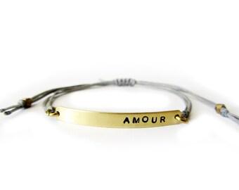 Hand stamped bracelet, Custom hand stamped friendship bracelet, Personalized stamped bracelet