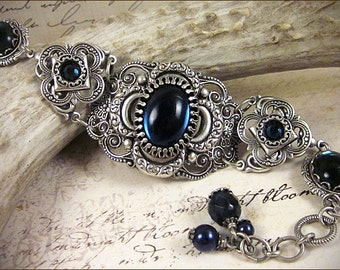 Blue Medieval Bracelet, Navy, Blue Clover, Renaissance Jewelry, Antiqued Filigree Jewelry, Tudor Jewelry, Canter