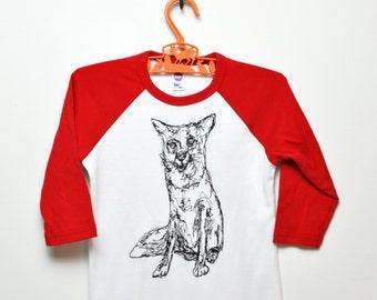 Fantastic Fox Raglan Tee - Red & White - 4T