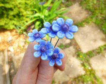 Fairy garden, small glass flower in blues (one), fairy garden supply, terrarium accessories, fairy garden kit, terrarium decoration