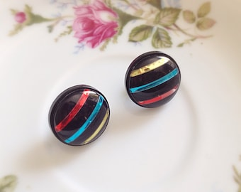 Vintage Black Round Post Earrings. Metallic Color Stripes. Colorful. 1980s. Hipster. Red. Blue. Gold. Under 10. Gifts. 1980s Bold. Acrylic