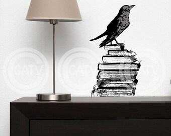 Raven on Books Halloween vinyl lettering decal sticker art home decor (crow)