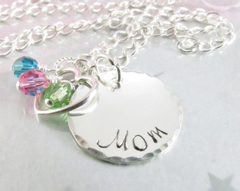 Hand Stamped Mom Necklace - Mom Jewelry - Personalized Mom Pendant - Sterling Silver