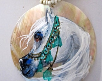 Arabian horse art handpainted necklace on mother of pearl white 5