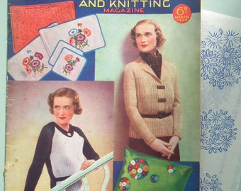 Vintage 1930s Knitting Sewing Magazine - Good Needlework 1936 - 30s knitting patterns sweaters scarf embroidery transfer lingerie fashions