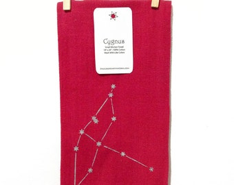 Cygnus - Swan Summer Triangle Constellation - Red Screenprinted Small Kitchen Towel