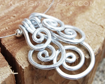 Aluminum Necklace. Minimalist. Spiral. Cluster. Silver aluminum. Wire jewelry.