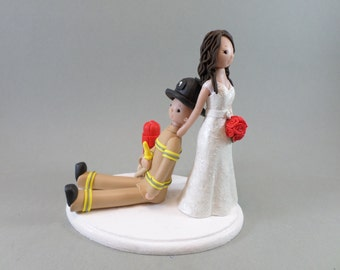 Bride Dragging Firefighter Personalized Wedding Cake Topper