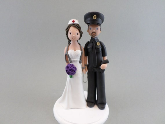 police officer and nurse wedding cake topper officer amp custom handmade wedding cake topper 18671