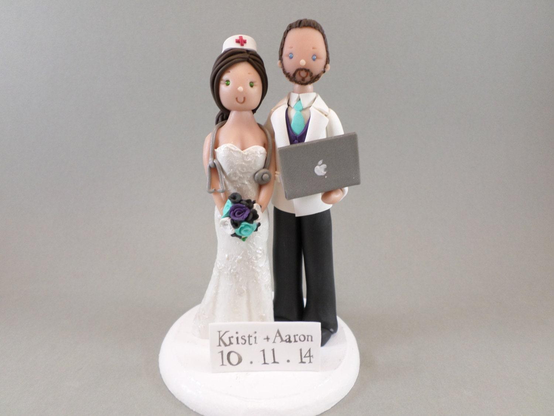 Custom Handmade Nurse Amp Computer Geek Wedding Cake Topper