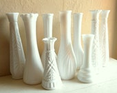 White Milk Glass Vases 9 Nine Collection Some Matching