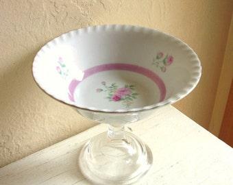 Feminine Pedestal Bowl for Serving Vintage Pink Roses Gold Trim