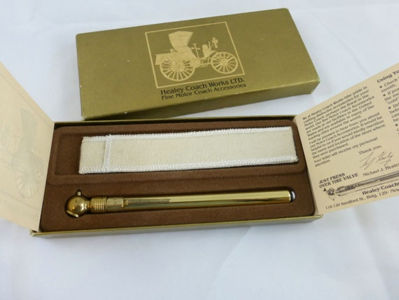 Vintage Solid Brass Precision Tire Gauge, Healey Coachworks Ltd Fine Motor Coach Accessories, Brass Tire Gauge with Case in Original Box