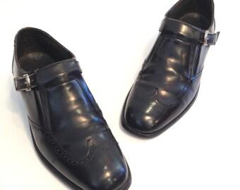Vintage Loafers Mens Loafers Black Leather Loafers Buckle Loafers Oxford Loafers Brogues Loafers Size 8.5 Loafers Black Leather Oxfords