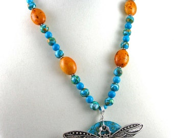 Mosaic turquoise dragonfly necklace, mixed gemstone beads and metal pendant