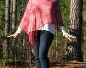 Dark Red Tie-Dye Chiffon Asymmetrical Poncho - Medium