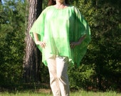 Luscious Lime & Roses Tie-Dye Caftan, Tunic, Beach Cover Up