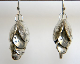Cascading Stamped Silver Multi Disc Earrings