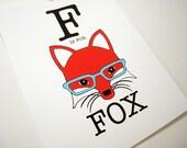 F is for Fox 8 x 10 Art Print
