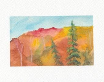 Fall Landscape 1 Original Watercolor Painting