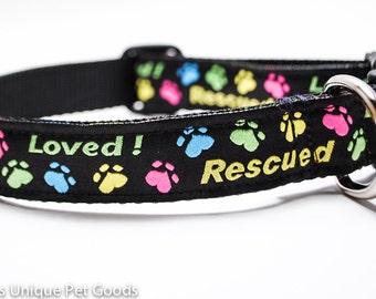 Rescue Dog Collar / Buckle or Martingale / Custom Dog Collar