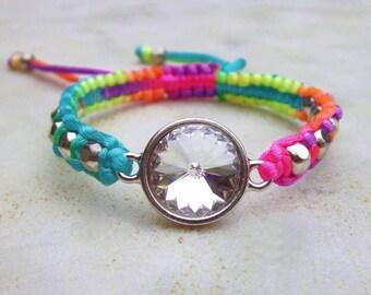 Swarovski Crystal friendship bracelet, neon friendship bracelet, rainbow macrame bracelet, rivoli crystal bracelet, crystal woven bracelet