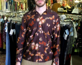 1970s Brown Butterfly Print Disco Shirt - Mens polyester long sleeves
