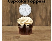 Sports Party - Set of 12 Volleyball Cupcake Toppers by The Birthday House