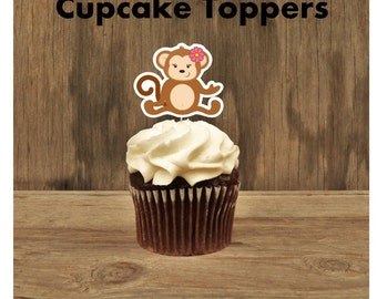 Monkey Birthday Party - Set of 12 Monkey Girl I Cupcake Toppers by The Birthday House