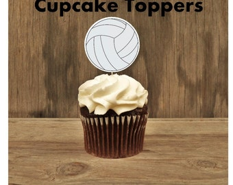 Sports Party - Set of 12 Volleyball Double Sided Cupcake Toppers by The Birthday House
